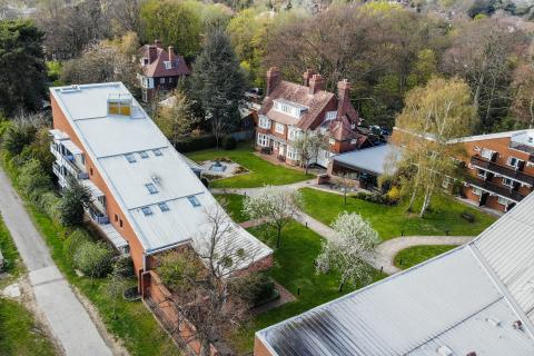 A photograph of Clare Hall from above - drone photo by Tobias Baldauf
